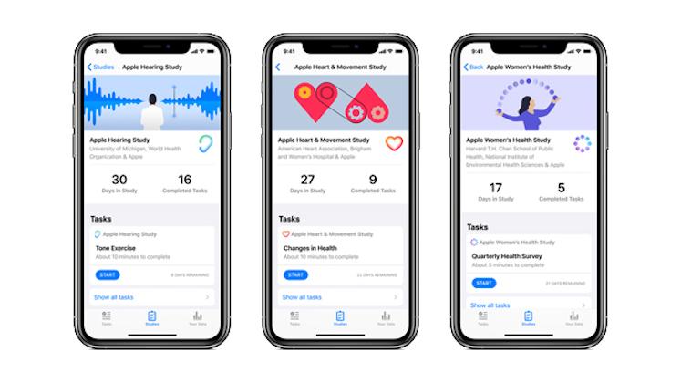 Apple, avviati negli Usa tre studi medici basati sulla app Research